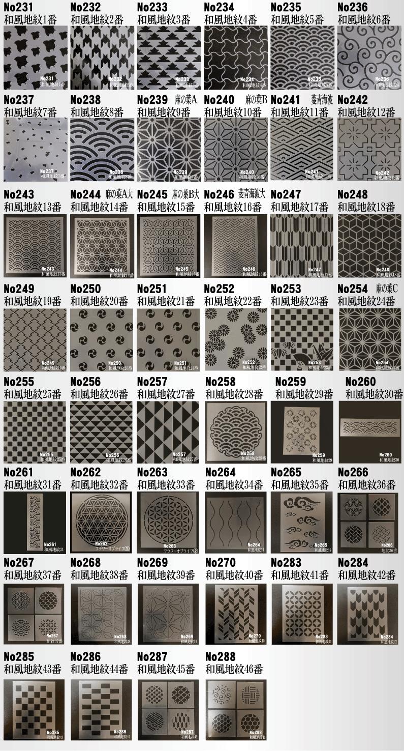 ステンシルシート和風地紋デザインシリーズ